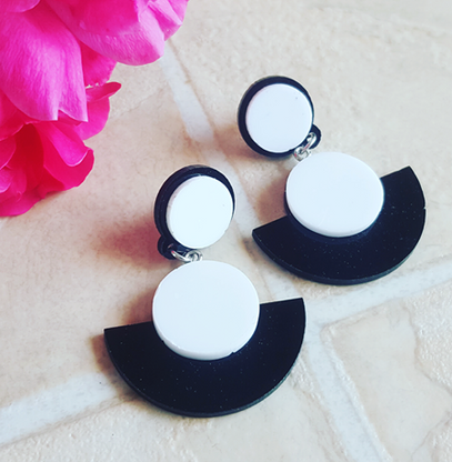 Black & White Laser Cut Drop Earrings - Cobalt Heights