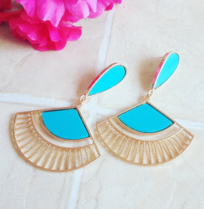 Blue Fan Drop Earrings - Cobalt Heights
