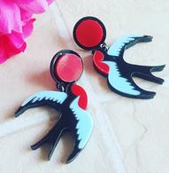 Rockabilly Swallow Earrings - Cobalt Heights