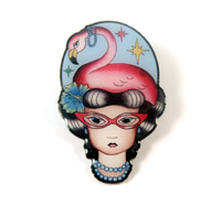 Jubly Umph Phoebe The Flamingo Lady Brooch - Cobalt Heights