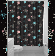 Sourpuss Sputnik Shower Curtain - Cobalt Heights