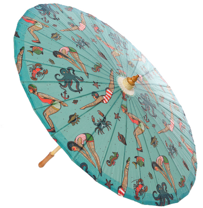 Sourpuss Tattooed Divers Parasol - Cobalt Heights