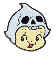 Sourpuss Kewpie Skull Lapel Pin - Cobalt Heights