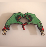 Hungry Designs Zombie Love Hands Brooch - Cobalt Heights