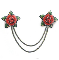 Jubly Umph Red Roses Cardigan Clips - Cobalt Heights