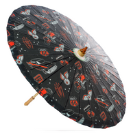 Sourpuss Kustom Kutie Parasol - Side - Cobalt Heights