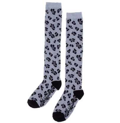 Sourpuss Leopard Print Knee High Socks - Grey - Cobalt Heights