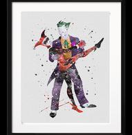 Watercolour Inspired Harley and Joker Print - Cobalt Heights
