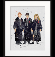 Watercolour Inspired The Hogwarts Trio Print - Cobalt Heights