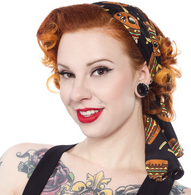 Sourpuss Bad Girl Skullburger Headscarf - Cobalt Heights