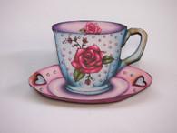 Hungry Designs Rose Teacup Brooch - Cobalt Heights