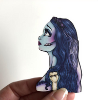 Hungry Designs Emily The Corpse Bride Profile Brooch - Cobalt Heights