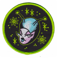 Sourpuss Space Babe Iron On Patch - Cobalt Heights