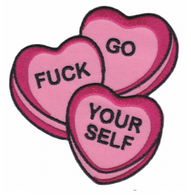 Sourpuss GFY Candy Hearts Iron On Patch - Cobalt Heights
