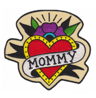 Sourpuss Mommy Heart Iron On Patch - Cobalt Heights
