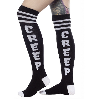 Sourpuss Creep Knee High Socks - Cobalt Heights