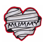 Sourpuss Mummy Heart Iron On Patch - Cobalt Heights