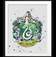 Watercolour Inspired Slytherin Print - Cobalt Heights