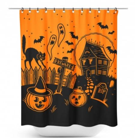 Sourpuss Haunted House Shower Curtain
