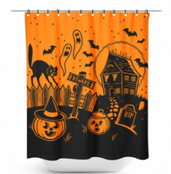 Sourpuss Haunted House Shower Curtain - Cobalt Heights
