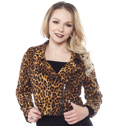 Sourpuss Leopard Crop Jacket - Cobalt Heights