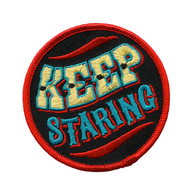 Sourpuss Dumb Junk Keep Staring Iron On Patch - Cobalt Heights