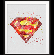 Watercolour Inspired Superman Print - Cobalt Heights