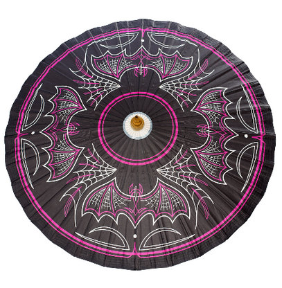 Sourpuss Batty Pinstripe Parasol - Cobalt Heights
