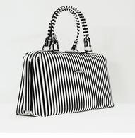 Starstruck Jetson Handbag - Black And White Stripe - Side - Cobalt Heights