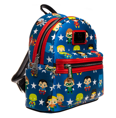 Loungefly X Justice League Chibi Characters Mini Backpack - Cobalt Heights