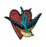 Sourpuss Sparrow Heart Enamel Pin - Cobalt Heights