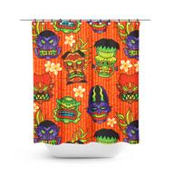 Sourpuss Monster Tiki Shower Curtain - Cobalt Heights
