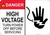 Danger High Voltage, Turn Power off before Servicing, Shocked Hand #53-316 thru 70-316