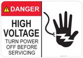 Danger High Voltage, Turn Power off before Servicing, Shocked Hand #53-316 thru 70-316