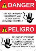 Danger Shocked Hand, Arc Flash Hazard #53-320 thru 70-320