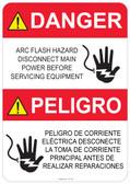 Danger Shocked Hand, Arc Flash Hazard #53-320 thru 70-320