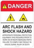 Danger Arc Flash and Shock Hazard - (PPE) statement #53-321 thru 70-321