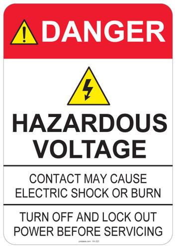 Danger Hazardous Voltage, #53-323 thru 70-323