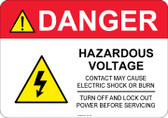 Danger Hazardous Voltage, #53-325 thru 70-325