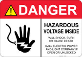 Danger Hazardous Voltage Inside #53-328 thru 70-328
