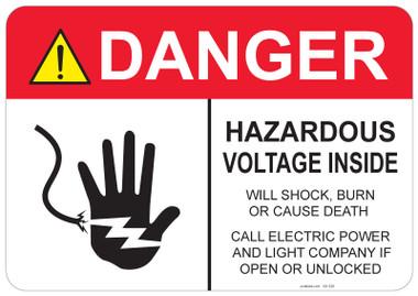 Danger Hazardous Voltage Inside #53-328 thru 70-328