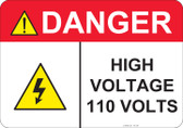 Danger High Voltage 110 Volts - #53-436 thru 70-436