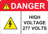 Danger High Voltage 277 Volts - #53-438 thru 70-438