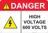 Danger High Voltage 600 Volts - #53-440 thru 70-440