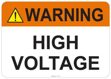 Warning High Voltage #53-707 thru 70-707