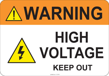 Warning High Voltage #53-709 thru 70-709