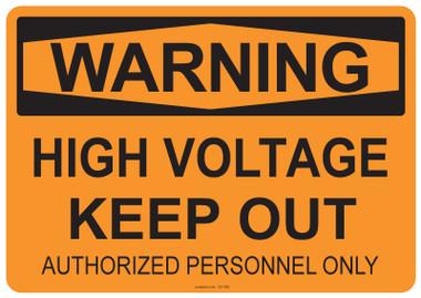 Warning High Voltage, #53-508 thru 70-508