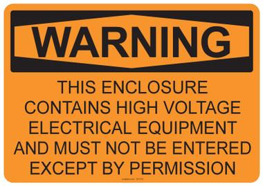 Warning High Voltage, #53-510 thru 70-510