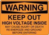 Warning Keep Out High Voltage Inside, #53-512 thru 70-512