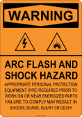 Warning Arc Flash and Shock Hazard, #53-521 thru 70-521